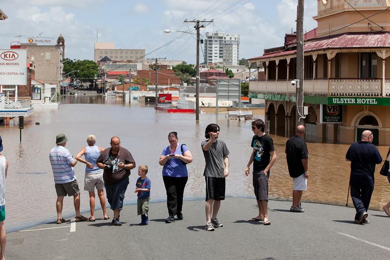Intersection Brisbane St & Mortimer St Ipswich from Brisbane St looking towards East St - 12 Jan 2011