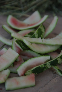 Resztki po zimny arbuzie dostarczonym przez pana taksiarza
