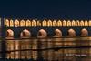 Zayandeh River and Pol-e Khaju reflected at night, Isfahan, Iran
