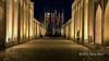 Upper level promenade at night with flags, Pol-e Khaju Bridge, Isfahan, Iran