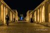 Upper level promenade at night, Pol-e Khaju Bridge, Isfahan, Iran