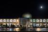 Lotfollah Mosque and shops at night with moon rise, Naghsh-e Jahan Square, Isfahan, Iran