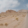 The lonely desert road leading to Chak Chak