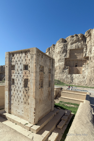 The cube of Zoroaster (5th C BC) and the Tomb of Darius II (423-404 BC) at the Naqsh-e Rostam UNESCO site, Marvdasht, Iran. The structure of the Ka'bah is similar to the tomb of Cyrus I at Pasardagae (530 BC) and is thought to be an Achaemenid tomb. It appears to be built on a similar base isolated structure to the Cyrus I tomb which helps it to resist earthquakes and contributes to its remarkable preservation today. The building, with one inner chamber is decorated with recessed false windows.