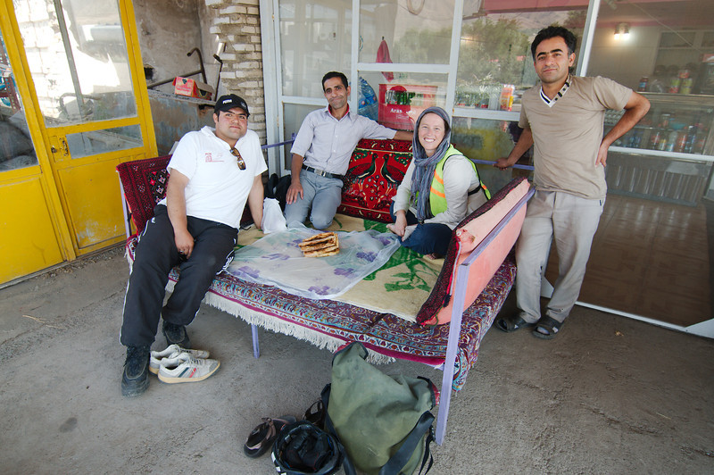 Breakfast with Akbar and friends on our way to Tabriz