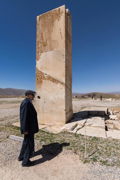 "SW corner pillar Palace P with inscriptions, Pasargadae, Iran<br /> <br /> The trilingual inscriptions read ""I am Cyrus the King, an Achaemenid""."