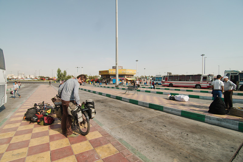 At the Azadi bus station, getting ready to cycle into Southern Tehran