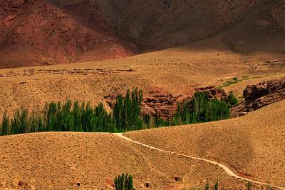 Gravel road Leading into the Mountain, Karkas Mountains, Iran.