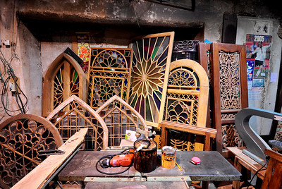 Handcrafted and carved Old Wood Windows and Doors, Isfahan, Iran.