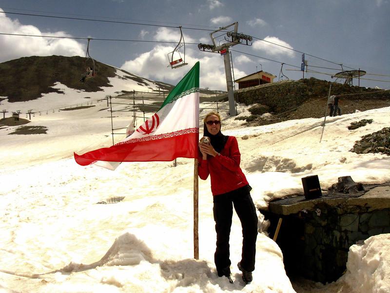 Cheryl & Beanie a op the Tochal Ski Resort in Tehran.