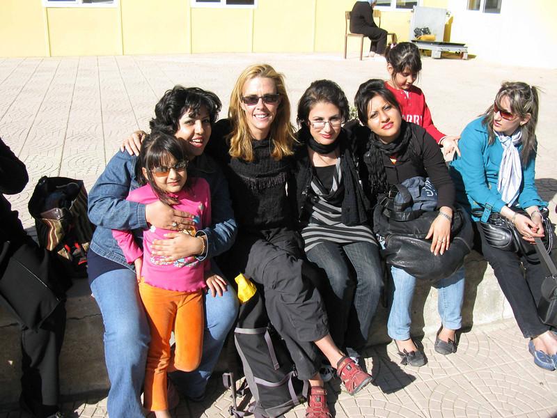 Alas the train gang arrives at the Karikoy Turkish border station!  Lovely ladies....