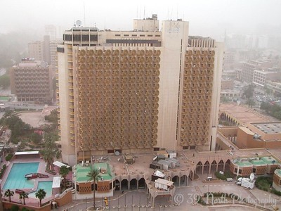 The Palestine Hotel from the 18th floor of the Sheraton Hotel. I believe the Sheraton is the tallest building in Baghdad.