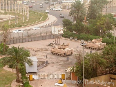 Two of the Bradley Fighting Vehicles protecting the hotel compound.