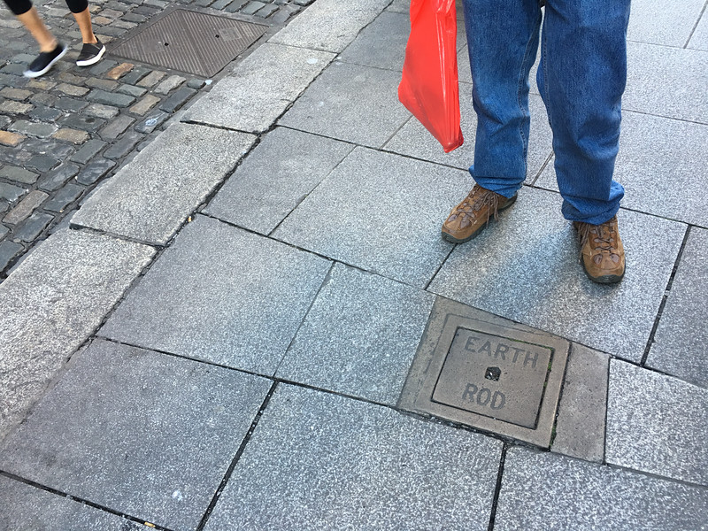 Note for EEs: I never saw an earth ground in a sidewalk or road before this.