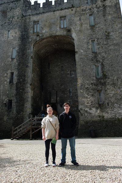 One last pose in front of the Castle<br /> <br /> We grabbed lunch in the Bunratty cafe and took it with us in the car.  On the way to Doolin Ferry Port, we got behind a string of very inexperienced drivers in rentals that were literally doing half the speed limit.   It was a white knuckled dash up to Doolin with me passing cars any time the law and sanity would permit.<br /> <br /> We made it just in time to sign in and collect our passes.