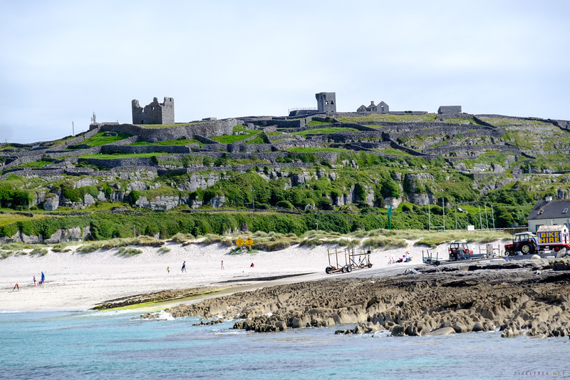 A final view of the Fort , walls, beach, and other ruins on Inisheer