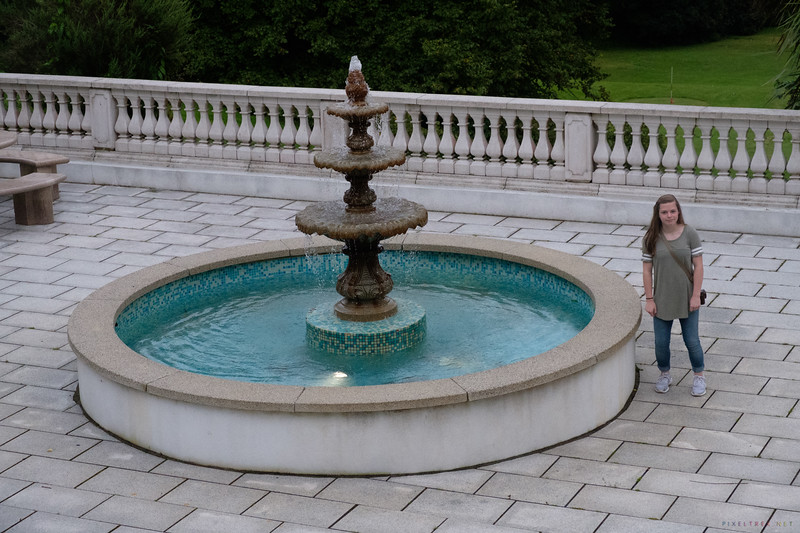 The fountain at the rear of the castle