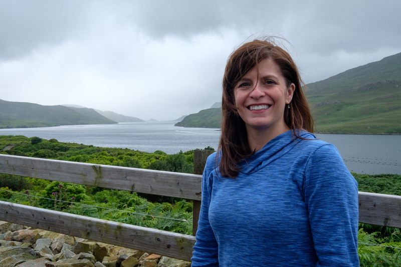 Cindy with the fjord behind her near Killary