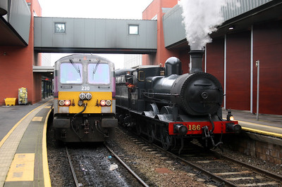 230 & steam 186 at Belfast Central on 15th December 2007