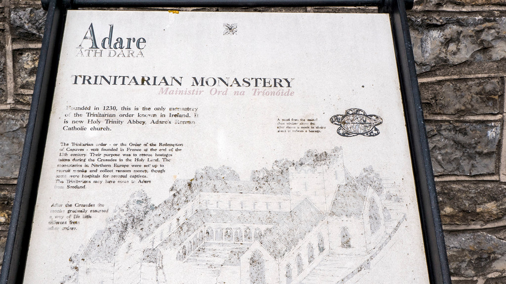 Trinitarian Abbey in Adare Ireland - Things to do in Adare - What to do in Adare - Historic plaque