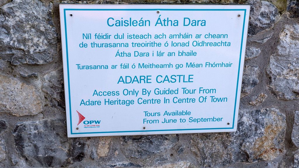 Adare Castle - Guided tour sign - Things to do in Adare Ireland