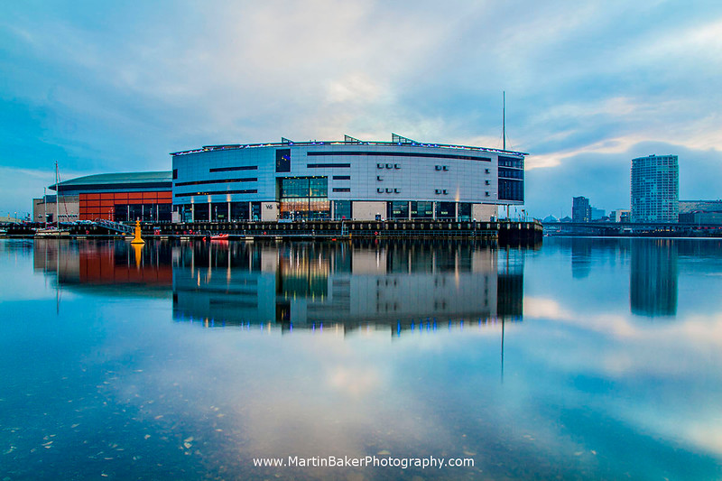 Odyssey Arena and River Lagan, Titanic Quarter, Belfast, Northern Ireland.