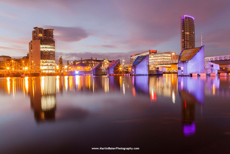 River Lagan, Lagan Weir and Obel Building, Belfast, Northern Ireland.