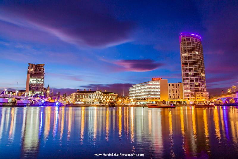 River Lagan, Custom House and Obel Building, Belfast, Northern Ireland.