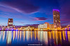 River Lagan, Custom House and Obel Building, Belfast, Northern Ireland.