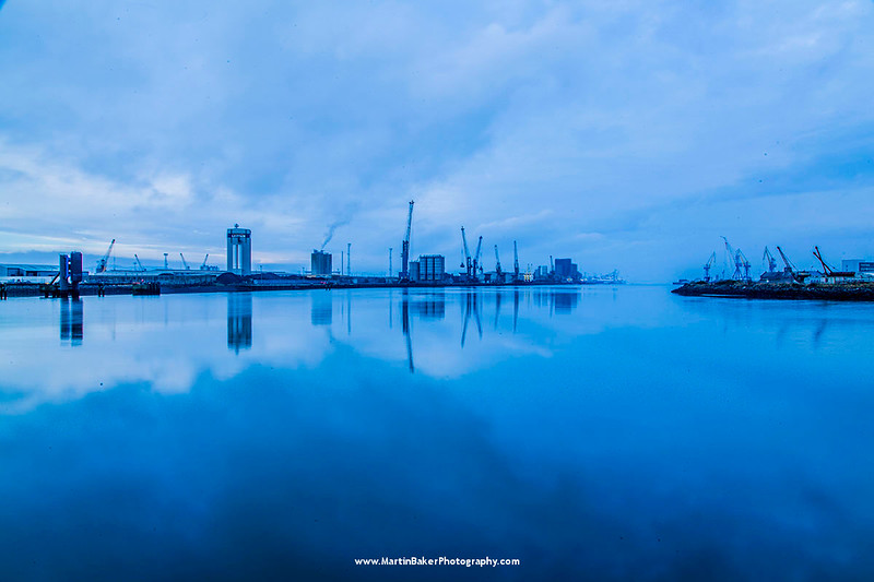 River Lagan and Belfast Port, Belfast, Northern Ireland.