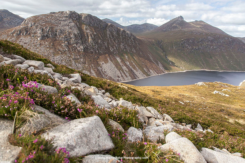 Ben Crom Reservoir, Ben Crom and Slieve Bearnagh, The Mourne Mountains, Down, Northern Ireland.