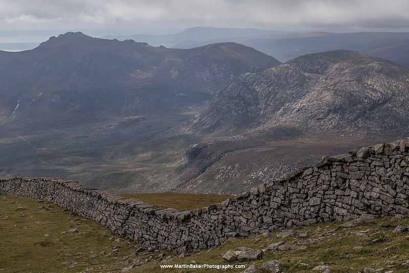 The Mourne Wall and Annalong River Valley, The Mourne Mountains, Down, Northern Ireland.
