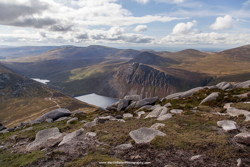 Ben Crom Reservoir, view from Slievelamagan, The Mourne Mountains, Down, Northern Ireland.