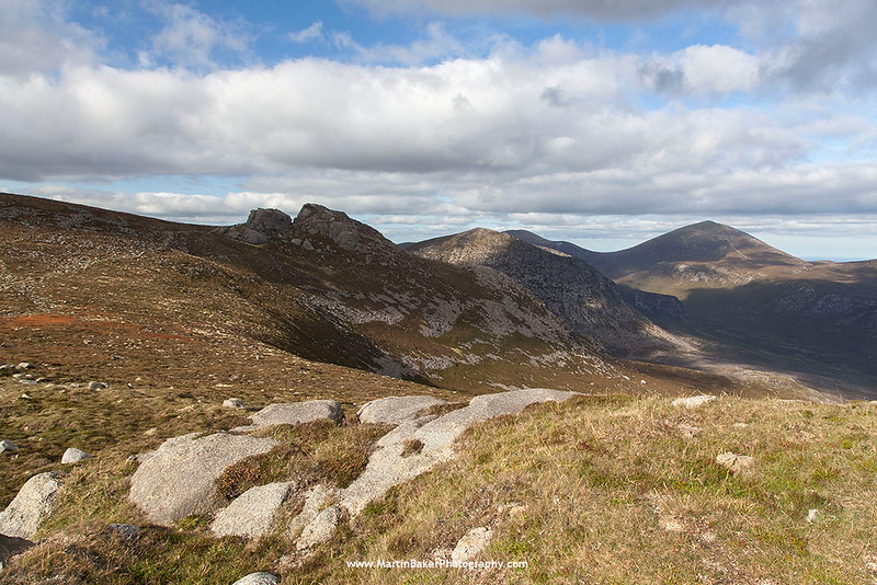 Annalong River Valley and Slieve Donard, view from Slieve Binnian, The Mourne Mountains, Down, Northern Ireland.