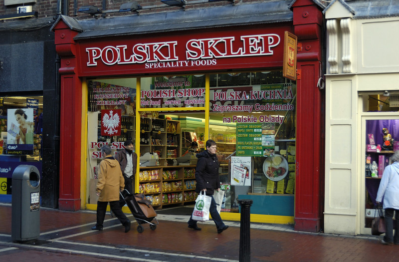 Polish shop, Dublin, 12 January 2009.  For centuries poverty has driven  Irish men and women overseas, so I was interested to find Polish immigrants in Dublin.