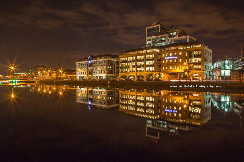 George's Quay Plaza and River Liffey, Docklands, Dublin, Ireland.