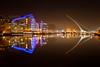 Dublin Convention Centre, Samuel Beckett Bridge and River Liffey, Docklands, Dublin, Ireland.