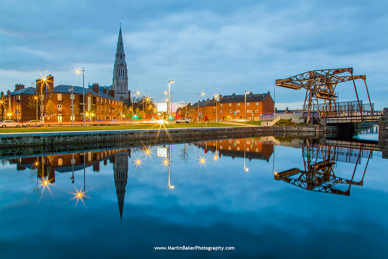Spencer Dock and St. Laurence O'Toole Church, Docklands, Dublin, Ireland.