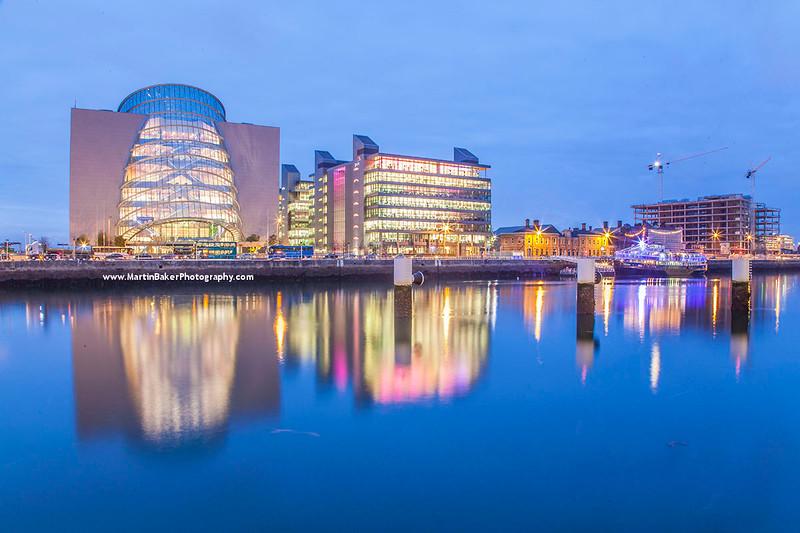 Dublin Convention Centre and River Liffey, Docklands, Dublin, Ireland.