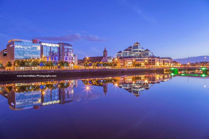 George's Quay and River Liffey, Dublin, Ireland.