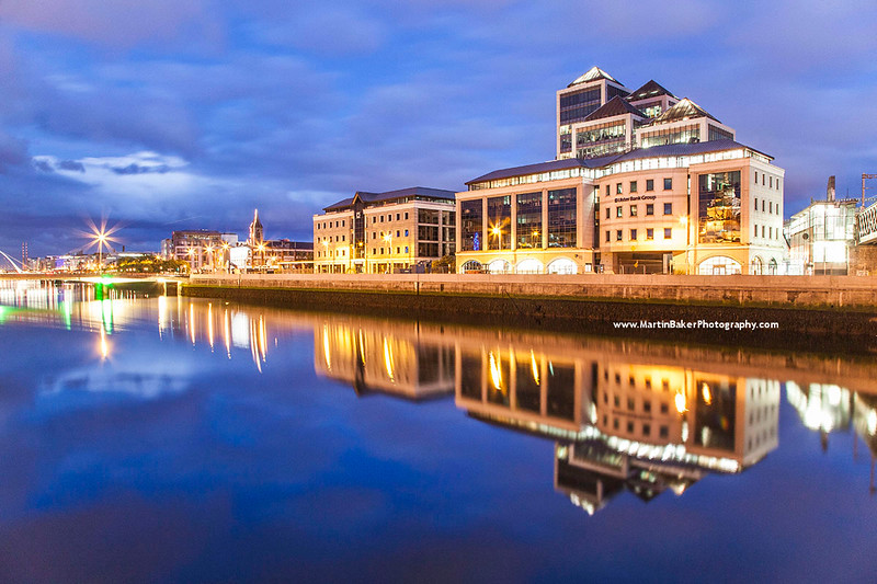 George's Quay Plaza and River Liffey, George's Quay, Dublin, Ireland.