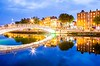 Ha'penny Bridge and River Liffey, Dublin, Ireland.