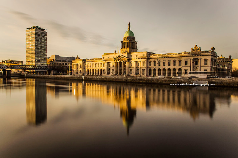 Liberty Hall, Custom House and River Liffey, Dublin, Ireland.
