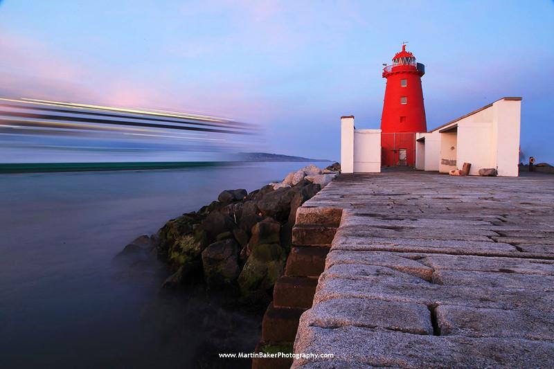 Poolbeg Lighthouse, South Bull Wall, Dublin Bay, Dublin, Ireland.