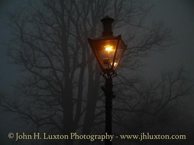 Dublin, Phoenix Park - Gaslight in the early morning mist - March 21, 2009