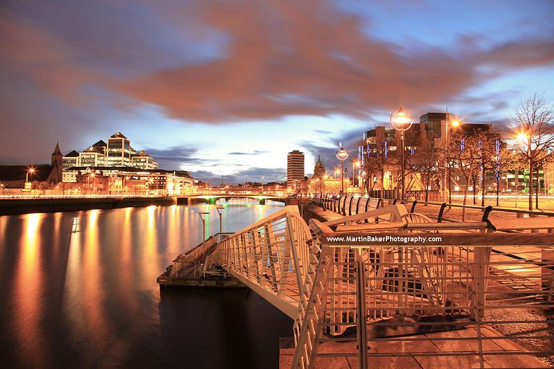 River Liffey and Docklands, Dublin, Ireland.