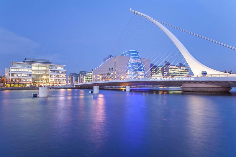 Dublin Convention Centre and Samuel Beckett Bridge, Docklands, Dublin, Ireland.