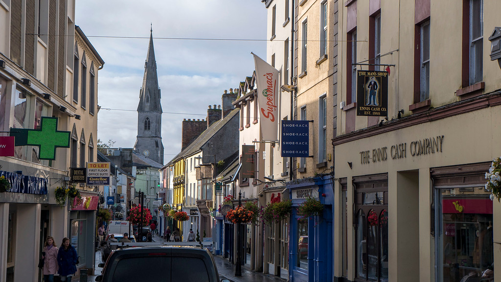 Town center of Ennis Ireland