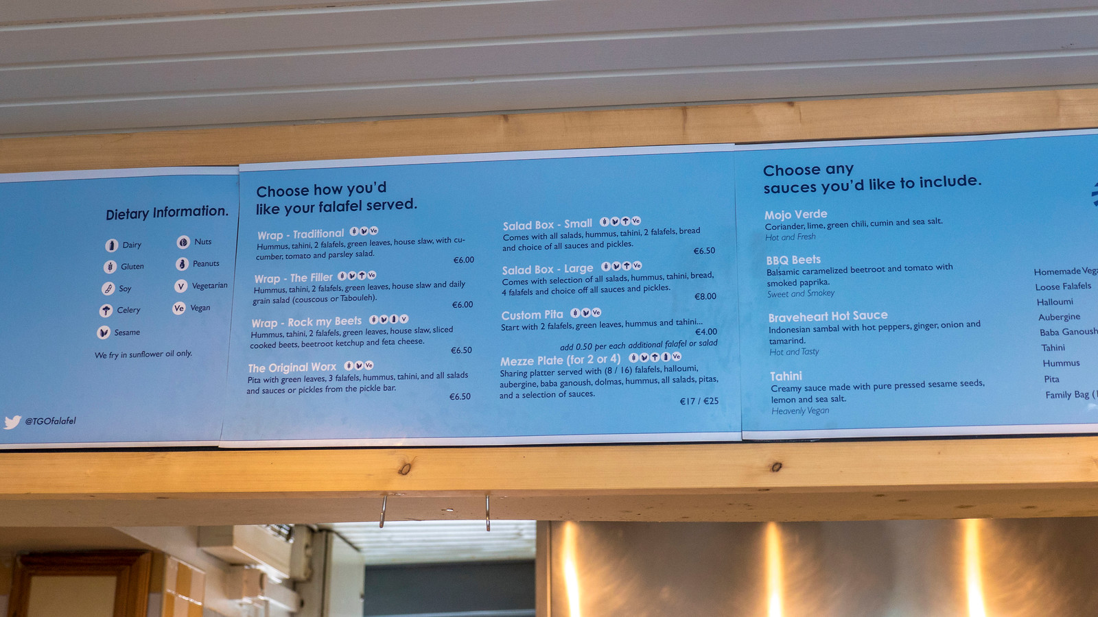 TGO Falafel Bar Menu Board - Vegan Galway Restaurant and Dining Guide