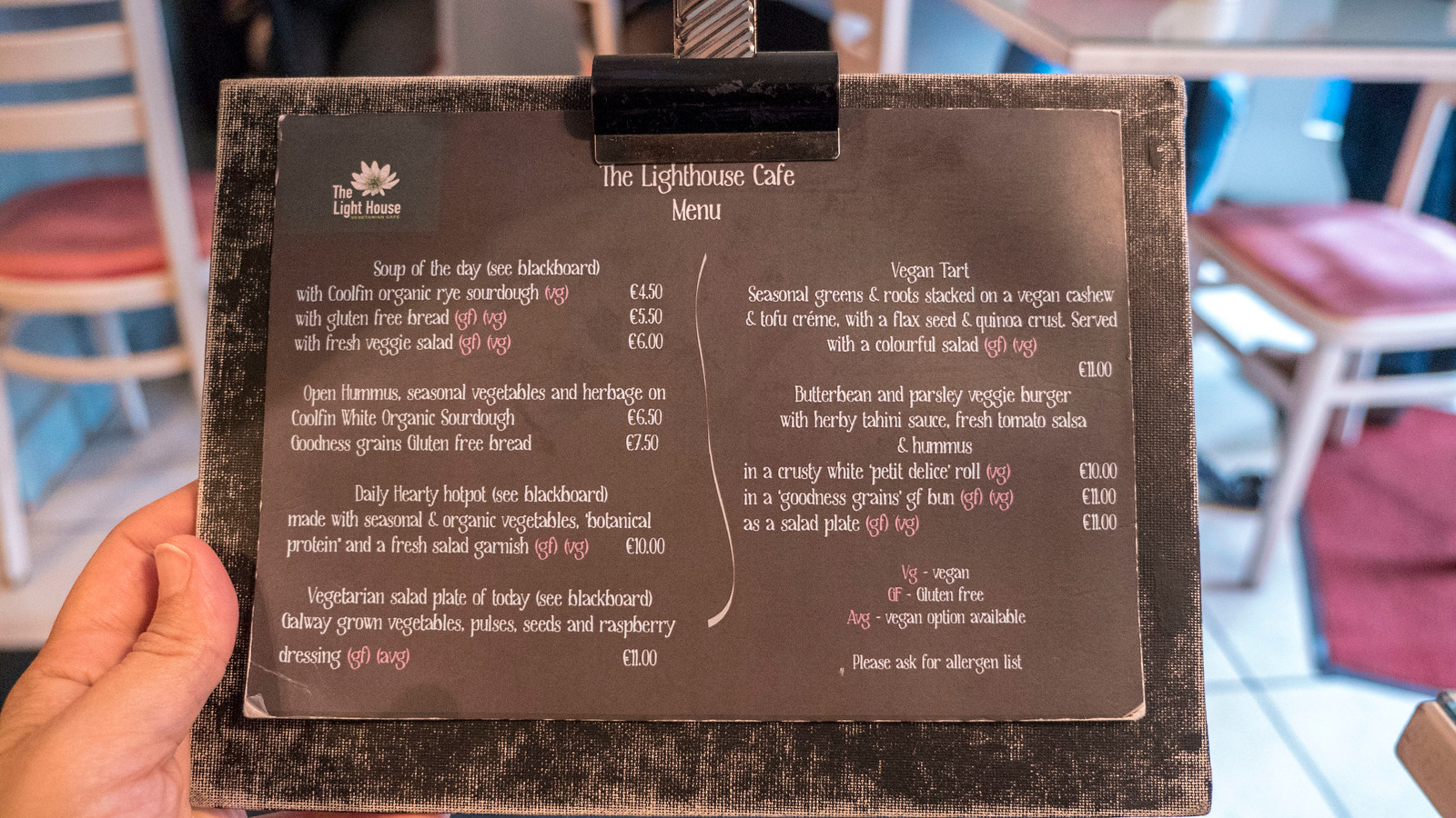 Menu for the Lighthouse Cafe in Galway - Vegan Galway Restaurant and Dining Guide